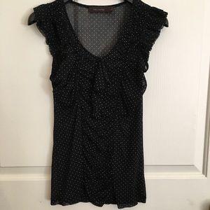 The Limited sheer black polka dot print top